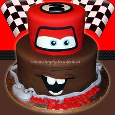 2 Tier Disney Cars Fondant Lightening McQueen / Mator Birthday Cake