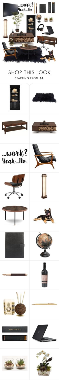 """Home office #2"" by genesisnicole-1 ❤ liked on Polyvore featuring interior, interiors, interior design, home, home decor, interior decorating, Hooker Furniture, DutchCrafters, AK47 and Possini Euro Design"