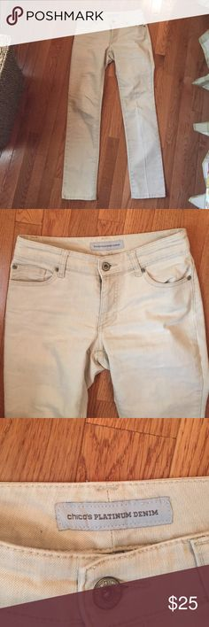 Chico's Platinum Denim Adorable off white jeans. They are very flattering and comfy. Straight leg fit. EUC Chico's Jeans Straight Leg