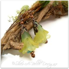 Lime Tree Fairy Flower Drop Earrings in Antique Copper | Shes-A-Belle Designs  $22.00
