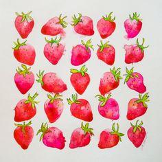 Original Art Watercolor Painting Strawberries - Summertime Fresas - Red, Wall Art, Wall Decor, Fine Art