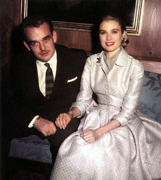 Monaco royalty - Grace Kelly and Prince Rainier of Monaco - engagement