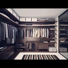 Mans Walk-in closet. Well organized and ordered