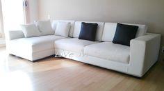 L-Shape White Leather Sofa - Max9009B