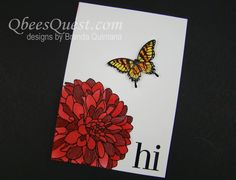 Qbee's Quest: Tips - flower was sponged with red ink, then red marker used to add highlights