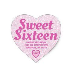 Sweet Sixteen Pink Heart Return Address Labels - craft supplies diy custom design supply special