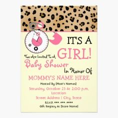 A baby shower invitation featuring a top border of leopard print with pink trim. Pink diaper pin attached to top border and circle shape with pink baby carriage inside.