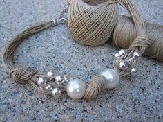 Collier lin Noeux XL Perles Fantasie Perles Metàliques Desing Fait à Main Style Mediterranéen