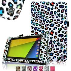Fintie Folio Case for Google Nexus 7 FHD 2nd Gen 2013 Android Tablet Slim Fit With Auto Wake / Sleep Feature - Leopard Rainbow - http://androidizen.com/shop/fintie-folio-case-for-google-nexus-7-fhd-2nd-gen-2013-android-tablet-slim-fit-with-auto-wake-sleep-feature-leopard-rainbow/