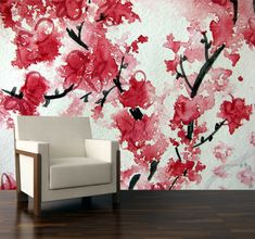 Wallpaper mural from original abstract aquarelle. Abstract mural of cherry blossoms. Photo Wallpaper, Peel And Stick Wallpaper, Wall Wallpaper, Cherry Blossom Watercolor, Cherry Blossoms, Japanese Watercolor, Wall Murals, Wall Art, Wall Decal
