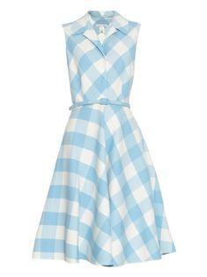 Oscar de la Renta Gingham Wool-Blend Dress, $2,490; matchesfashion.com      - ELLE.com
