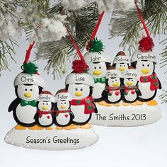 Personalized Family Christmas Ornaments - Penguins customized