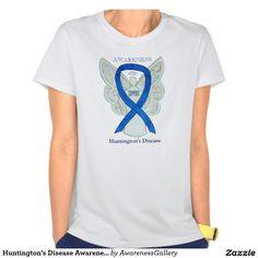 Huntington's Disease Blue Awareness Ribbon Angel Custom Shirts