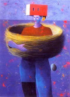 Alfredo Luz -  Pintura - Artodyssey - Alfredo Luz (Riomeão, Santa Maria da Feira, 1951).   Pintor neofigurativo, por vezes abstracto, de feição lírica.  Frequenta o Curso de Artes Decorativas da Escola António Arroio.  Foi professor na disciplina de Educação Visual.  Dedica-se em exclusivo à pintura, desde 1985.