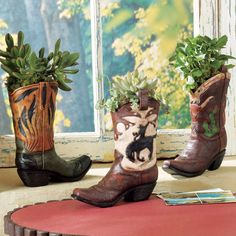 Set of 3 - Boot Vase Set - 3 pcs - Western Decor & Cowboy Gifts from Lone Star Home Decor Western Style, Western Theme, Western Boot, Cowboy Party, Cowboy And Cowgirl, Cowboy Boots, Southwestern Home Decor, Southwest Style, Western Bedroom Decor