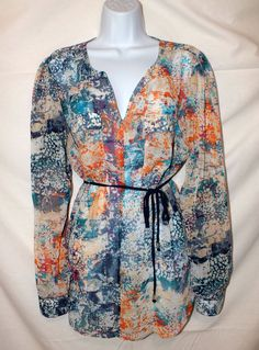 Mossimo Casual Multi-color Long Sleeve Women's Top Blouse Size L #Mossimo #Blouse #Casual