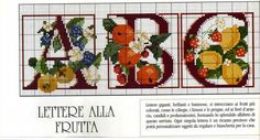 fruit alphabet 1 of 4 Gallery. Cross Stitch Cow, Cross Stitch Letters, Cross Stitch Boards, Cross Stitch Flowers, Cross Stitch Alphabet Patterns, Embroidery Alphabet, Cross Stitch Designs, Stitch Patterns, Cross Stitching