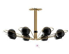 For Sale on - Chandelier black ball lights with polished brass round arcs and steel spherical diffusers style of Eight arms with adjustable lights. Chandelier Design, Chandelier Lighting, Lighting Design, Ceiling Design, Ceiling Pendant, Pendant Lamp, Ceiling Lights, Chandeliers, Mid Century Modern Lighting