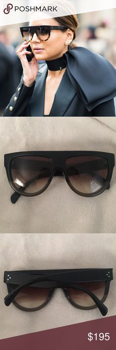 AUTHENTIC CELINE FLAT TOP SUNGLASSES CL41026/s The most coveted and classic Celine sunglasses! Seen on kim kardashian and many other celebs! Purchased at Saks 2 years ago around the holidays. Comes with cleaning cloth but no case! (Mis placed for my other Celine's sunglasses so keeping this ones case)! In good condition very little scratches on lenses and legs of sunglasses but not notices to the visible eye nor in pictures! Still so much life in them and great price! Yes these are…