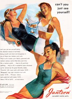 Yes, yes, I totally can see myself in one of these fantastic swimsuits! :) I had a Jantzen! Pin Up Vintage, Mode Vintage, Vintage Ads, Vintage Posters, Retro Fashion, Vintage Fashion, Patron Vintage, Bathing Costumes, Vintage Swimsuits