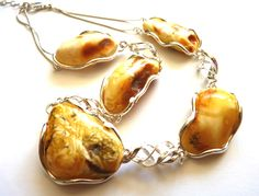 Baltic Amber Raw Butterscotch Silver Necklace