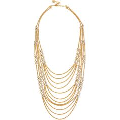 Ben-Amun Gold-tone chain necklace ($184) ❤ liked on Polyvore featuring jewelry, necklaces, gold, gold chain necklace, gold tone necklace, gold necklace, yellow gold jewelry and chains jewelry