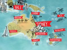 A close up of a Global map for Qantas promoting flight destinations Around the world. This one shows Australia, New Zealand, Sydney, Bali and all those other places Down Under