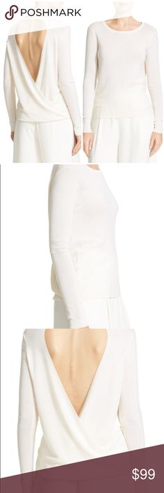 """DVF Kylee merino wool silk pullover ivory Dare to bare your shoulder blades in a silky, slim-fit pullover with long, lean sleeves and an open surplice back. - Scooped neck - Long sleeves - Approx. 25 1/2"""" length - Imported Fiber Content 75% merino wool, 25% silk Care Dry clean Fit: this style fits true to size. Brand new with tag. Retail price $248. Smoke free and pet free. Diane Von Furstenberg Sweaters Crew & Scoop Necks"""