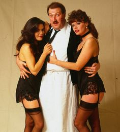 Gordon Kay with Vicki Michelle and Francesca Gonshaw Stockings Outfit, Stockings And Suspenders, Nylons, British Comedy Films, Vicki Michelle, Flight Attendant Hot, Celebrities In Stockings, White Tights, Vintage Stockings