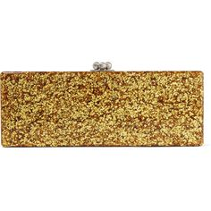 Edie Parker Flavia Ribbon two-tone glittered acrylic box clutch ($535) via Polyvore featuring bags, handbags, clutches, gold, edie parker clutches, lucite box clutch, hardcase clutch, glitter clutches and acrylic box clutch