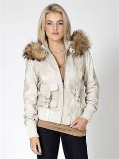 "Vixen Collection ""Moxie"" leather jacket with detachable fur hood in  White.  #vixencollection #vixen"