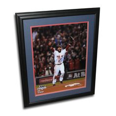 Dustin Pedroia autographed 2013 World Series 16x20 framed last out celebration photo.