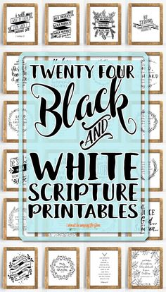 24 Printable Bible Verses: All black and white, handwritten-style printables featuring 24 beloved scriptures. These 24 Printable Bible Verses are a lovely addition to any home or office. Beautiful and hand-written style printables. Printable Bible Verses, Scripture Cards, Printable Wall Art, Bible Verse Crafts, Bible Verse Decor, Chalkboard Bible Verses, Bible Verse Signs, Free Printable Quotes, Printable Vintage