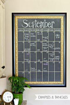 DIY oversized kitchen chalkboard calendar; perfect for back to school keeping kids organized!