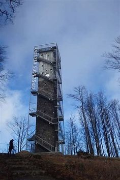 Galyateto Lookout Tower in Matra Mountains, Hungary Lift Design, Lookout Tower, Steel Stairs, Tower Design, Tower House, Concrete Structure, Water Tower, Built Environment, Willis Tower