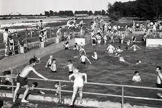 Letné kúpalisko Lido na pravom brehu Dunaja v Bratislave Petržalke.  Horúci Máj v 1958 Bratislava, Dolores Park, Times, Retro, Travel, Viajes, Destinations, Traveling, Trips