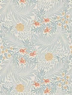 Larkspur, a feature wallpaper from Morris and Co, featured in the Archive II Wallpapers collection.