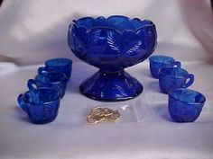 Mosser Glass Miniature Mini Cobalt Punch Bowl 6 Cups and S Hooks