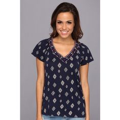 Lucky Brand Soiree Top Women's Short Sleeve Pullover, Blue ($33) ❤ liked on Polyvore featuring tops, t-shirts, blue, short sleeve v neck t shirt, v neck t shirts, v neck tee, cotton pullovers and cotton tee