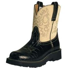Ariat Fat Baby Boots -- got these in red and cream -- comfortable, too.