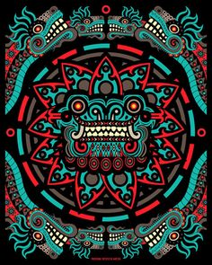 """Quetzalcoatl"", (Maya Art), Design, Symbol, Ancient and spiritual""Logo"". Psychedelic Art, Anime Body, Anime Pokemon, Aztec Warrior, Inka, Aztec Art, Psy Art, Mesoamerican, Chicano Art"
