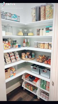 Pantry Organization and Food Storage Inspiration Food Storage Inspiration, Pantry Inspiration, Food Inspiration, Corner Pantry Organization, Kitchen Organization Pantry, Organized Pantry, Pantry Ideas, Baking Organization, Ikea Pantry