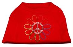 Rhinestone Rainbow Flower Peace Sign Shirts Red XXL (18)