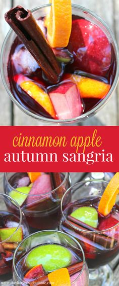 Cinnamon Apple Autumn Sangria. Seriously delicious! Has become one of my favorite cocktail recipes.