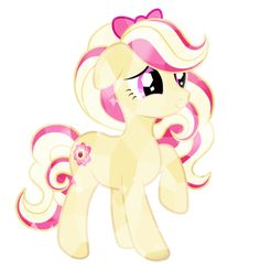 This is Raspberry Delight, and her talent is making raspberry treats. She is really shy, and she rarely talks. She sells her treats in the Crystal Empire, also where she lives. She gets bullied a lot for her shyness, and they try to scare her. -Open-