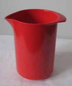 Vtg. MODERNIST KITCHEN ROSTI DENMARK ERIK LEHMAN PITCHER (vibrant vtg. red is loverly!)