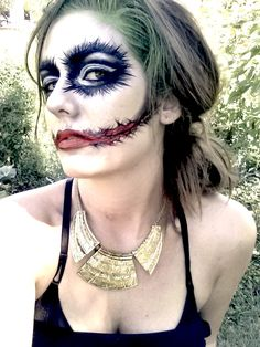 Artist: Leslie Heidner. Female Joker Batman comic con comics halloween costume makeup artist body paint face paint body art face art green blood stitches amazing beautiful girl love like wow crazy rad