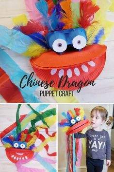 Chinese Dragon Puppet Craft with Paper Plates. How to make a Chinese dragon puppet using paper plates. Great for teaching children about Chinese culture or chinese new yeat Cute Kids Crafts, New Year's Crafts, Paper Crafts For Kids, Easy Crafts For Kids, Diy Arts And Crafts, Projects For Kids, Art For Kids, Simple Crafts, Preschool Crafts