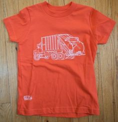 Garbage Truck on Orange by twobluecars on Etsy, $22.00