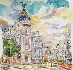 atardece en la Gran Via de Madrid